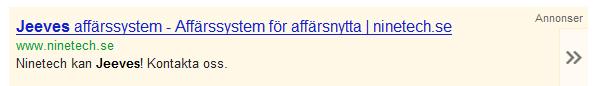 Ninetechs Google Adwords annons på Jeeves